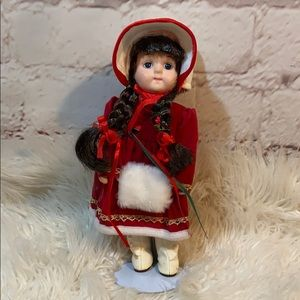 HOLIDAY DRESSED MINI PORCELAIN DOLL